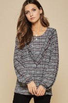 Plaid Ruffle V Top