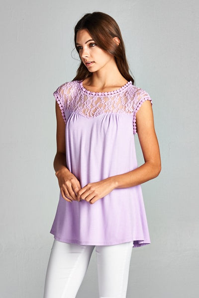 Sleeveless Lace Trim Tunic Top