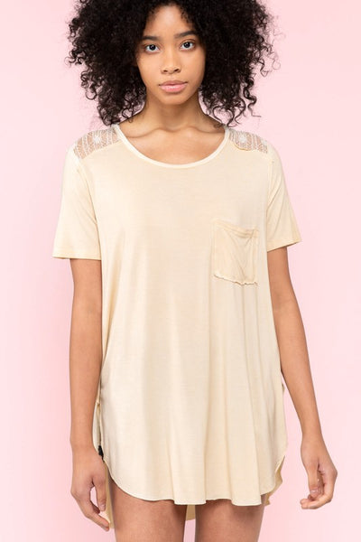 High Low Short Sleeve Pocket Tee with Lace Shoulder Detail