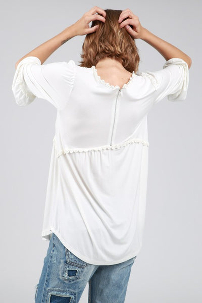 Babydoll Top with Zipper Back Detail