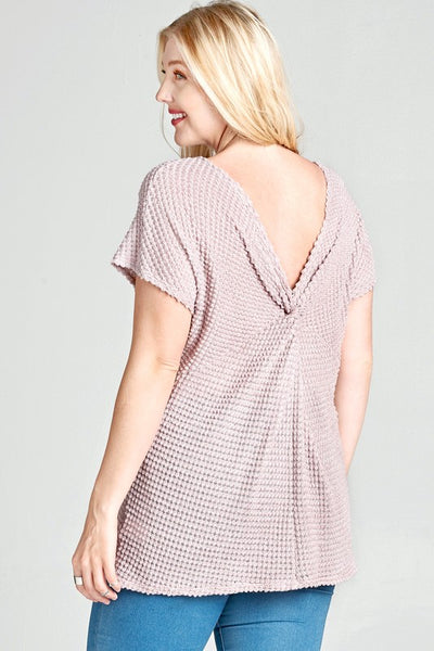Waffle Knit Top with Twisted V Back