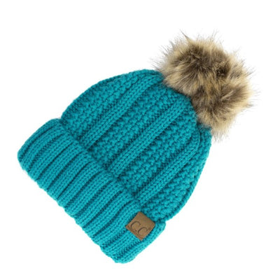 C.C. Beanie Cable Knit Fuzzy Lined Hat