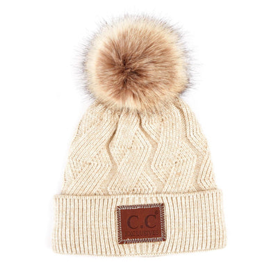 C.C. Beanie Geometric with Faux Fur Pom