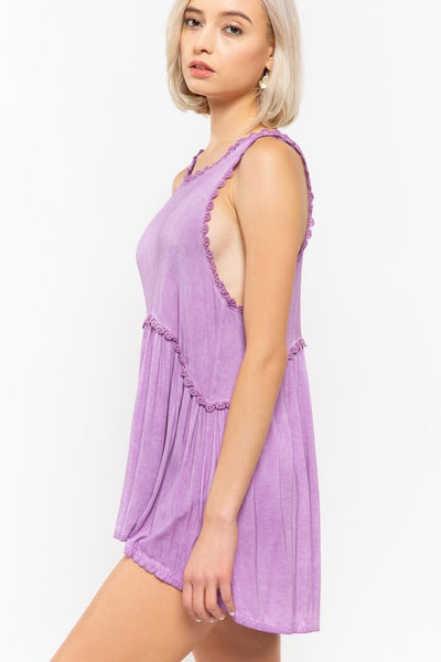 Babydoll Racerback Tank with Zipper Detail