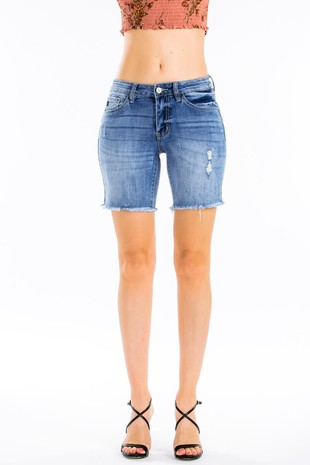 Kan Can Distressed Cut Off Bermuda Shorts