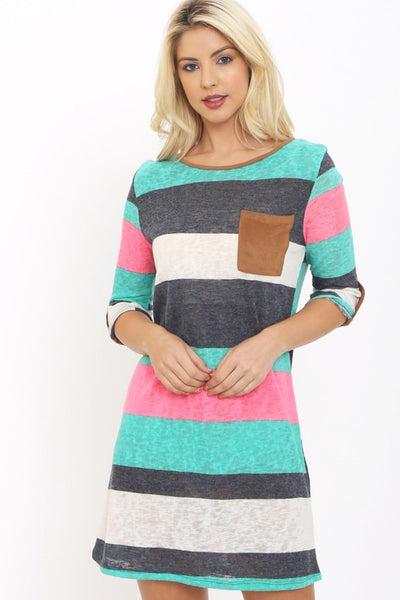 Stripe Mini Dress W/Suede Pocket
