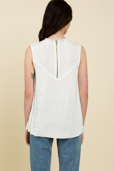 Zipper Back Embroidered Lace Mock Neck Top