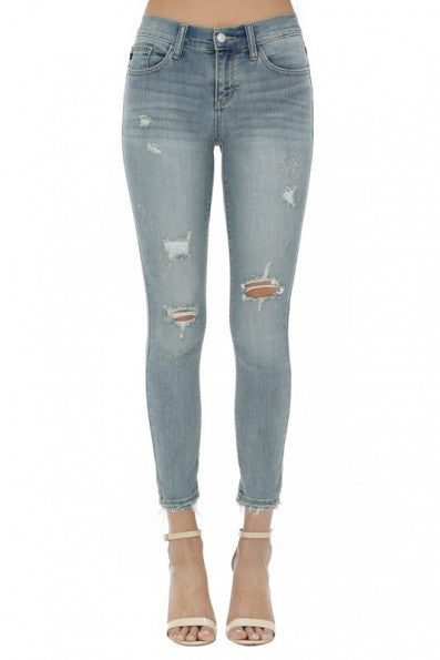 Judy Blue Cropped Ankle Fray Skinny Jean