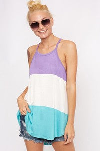 Color Block Halter Top