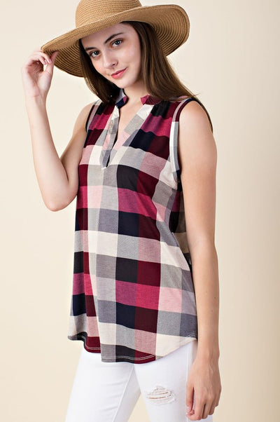 Checker Print Sleeveless Top