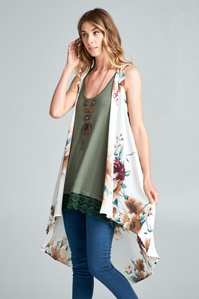 Open Front High Low Vest