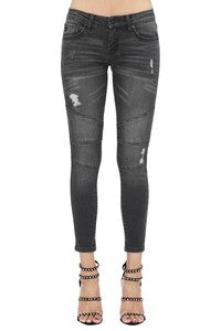 Kan Can Black Distressed Moto Jeans