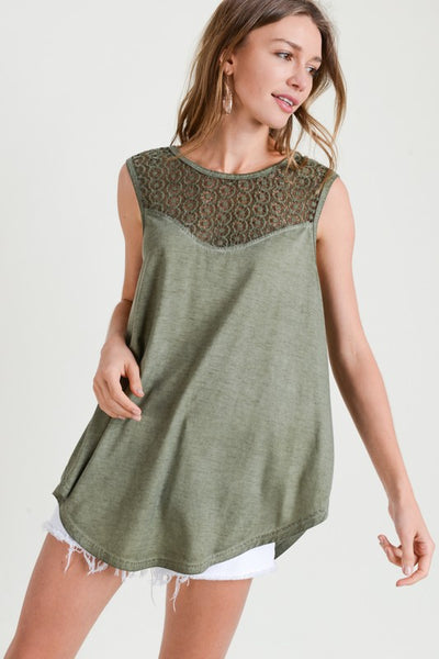Washed Out Top w/Lace Yoke