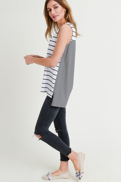 Mix Stripe Top with Side Slit
