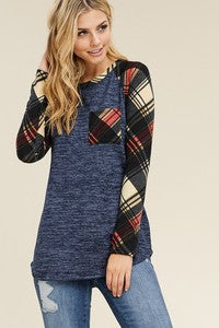 Long Sleeve Sweater Top with Checkered Sleeves
