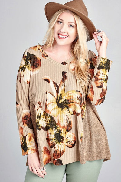 Floral Print Ribbed Swing Top