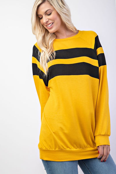 Double Stripe Color Block Tunic Top
