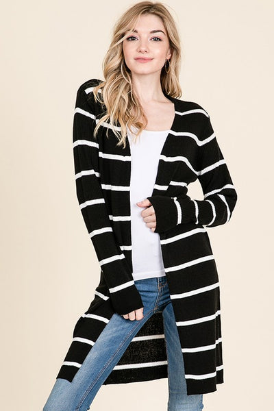 Long Sleeve Stripe Open Cardigan