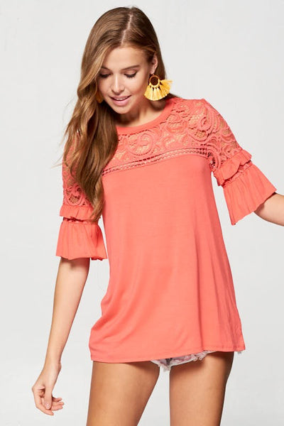 Solid Short Sleeve Double Ruffle Lace Tunic Top