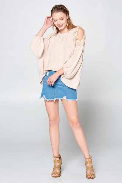 Pleated Woven Cold-Shoulder Blouse