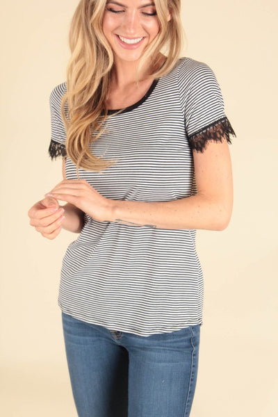 Stripe Lace Short Sleeve Top