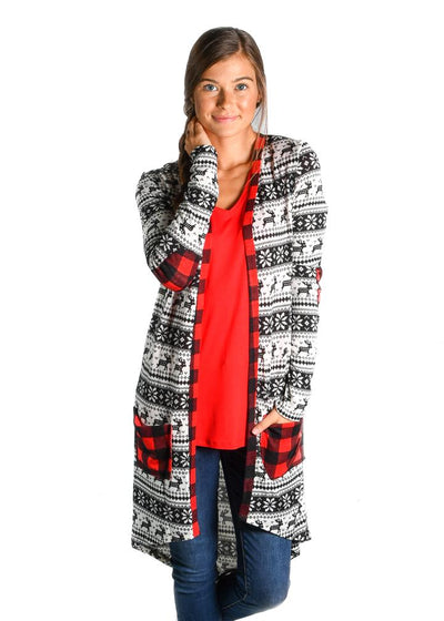 Reindeer With Buffalo Plaid Favorite Cardigan