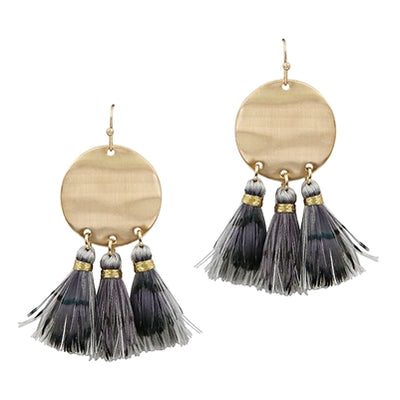 Hammered Gold Circle Earring with Feather and Fabric Tassel