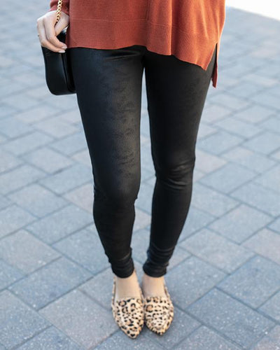 Grace and Lace Leather Look Fleece Lined Leggings