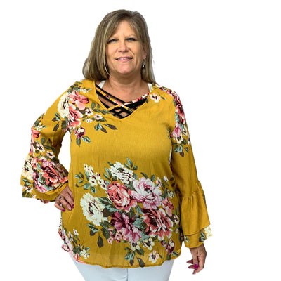 Floral Tiered Bell Sleeve Caged Neck Top