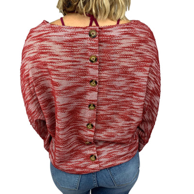 Button Back Heathered Boat Neck Top