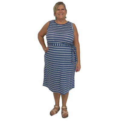 Striped French Terry Sleeveless Dress with Side Sash