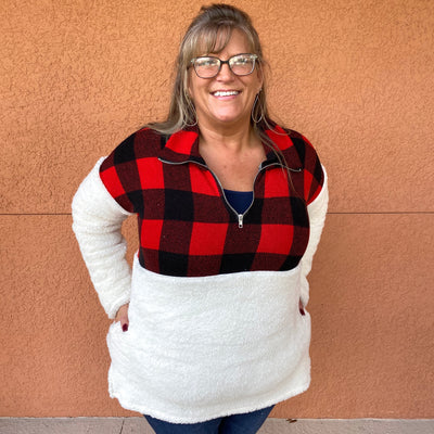 Buffalo Plaid Fuzzy Pullover