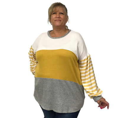 Color Block Puffy Sleeve Top