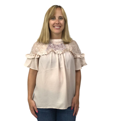 Lace Yolk Ruffle Sleeve Top with Frill Detail