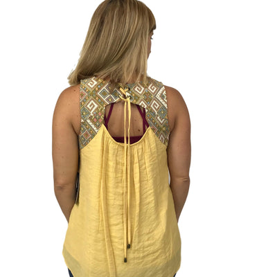 Embroidery Mixed Woven Top with Open Lace Back