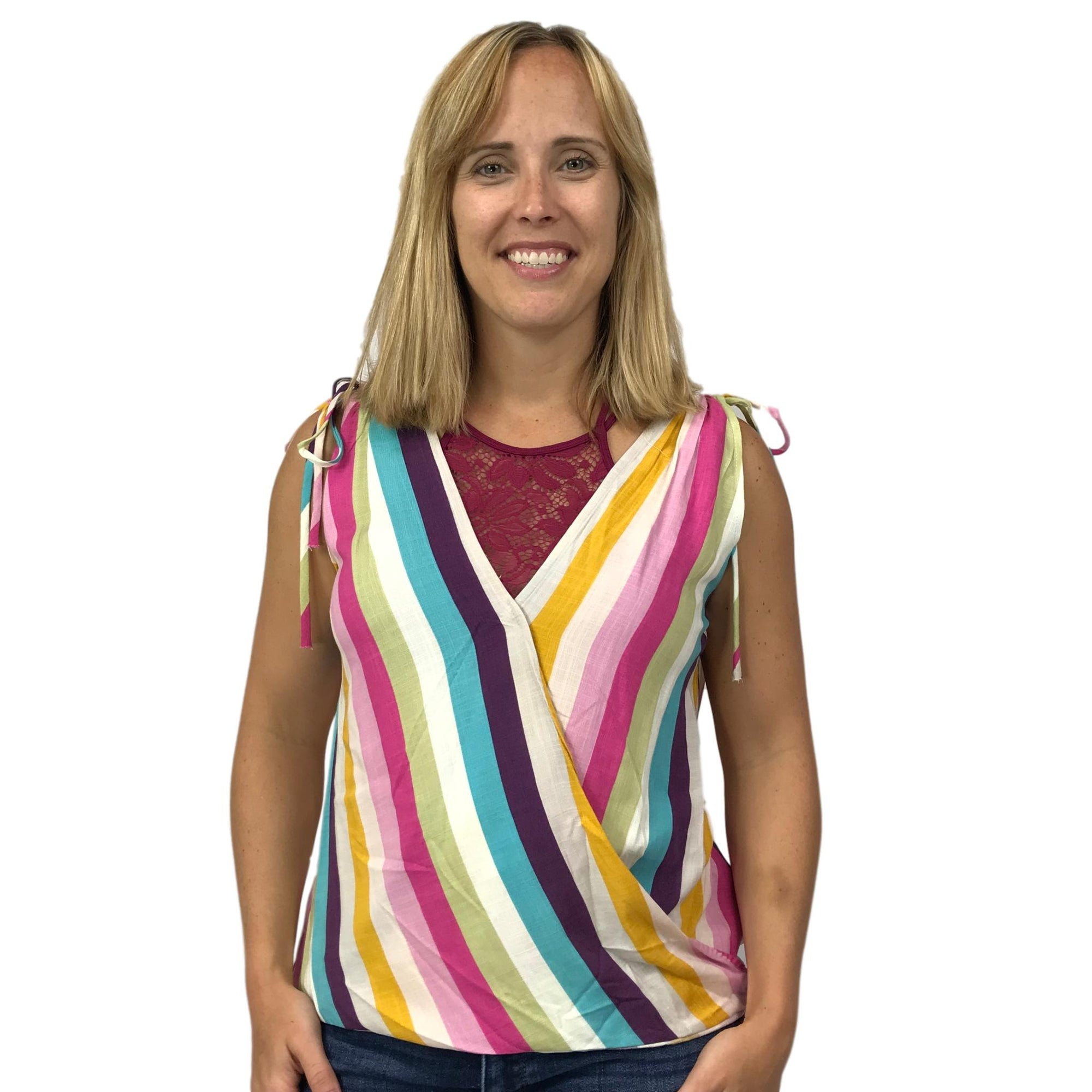 Retro Color Surplice Sleeveless Top