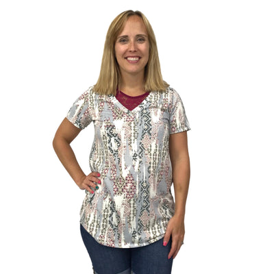 Short Sleeve French Terry Aztec Print Top