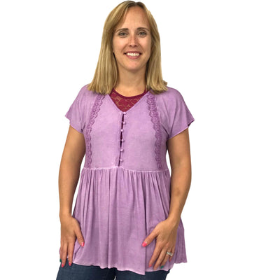 Short Sleeve Dolman Babydoll Top with Buttons