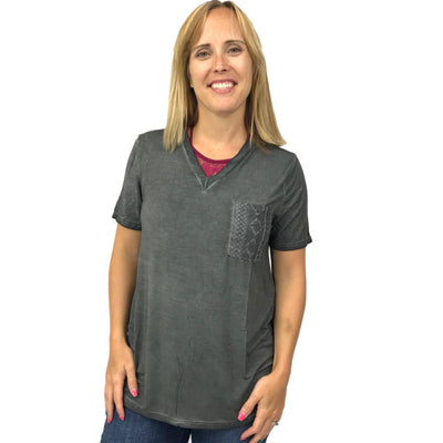V-Neck Tee with Embroidered Front Pocket