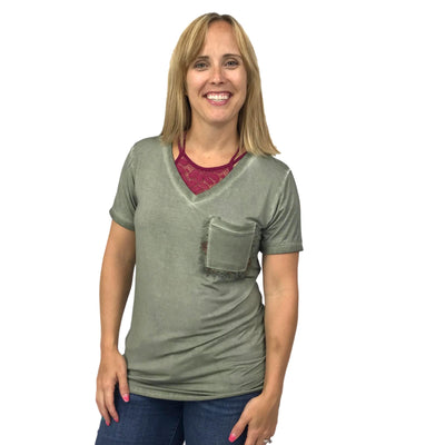 Ribbed V-Neck Tee with Frayed Pocket Detail