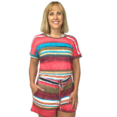 Colorful Stripe Short Sleeve Romper
