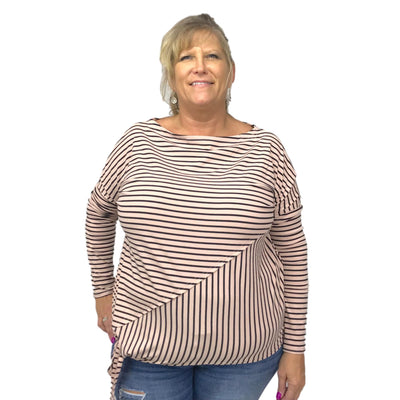 Pink Stripe Knit Dolman Top