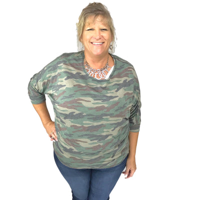 French Terry Camo Print Dolman Sleeve Hi-Lo Top