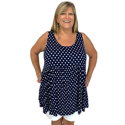 Sleeveless Polka Dot Babydoll Tunic