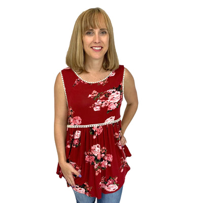Crochet Trim Sleeveless Baby Doll Tunic Top