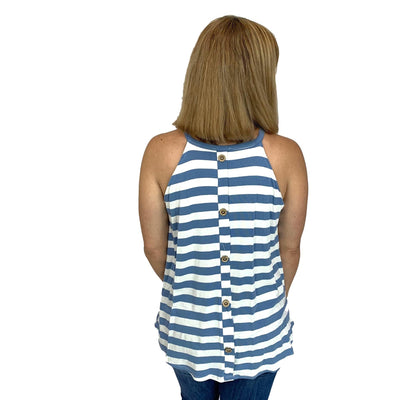 Striped Halter Top w/ Buttoned Back