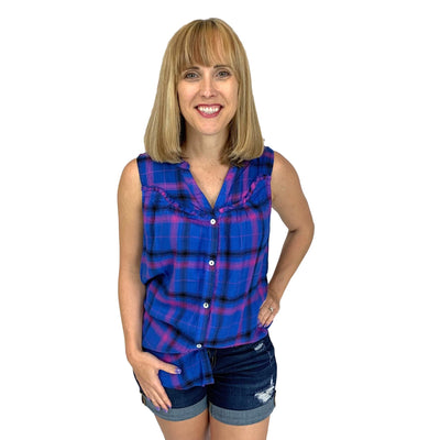 Plaid Sleeveless Button Down