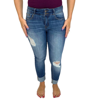 Cello Mid Rise Destroyed 2 Button Crop Jeans