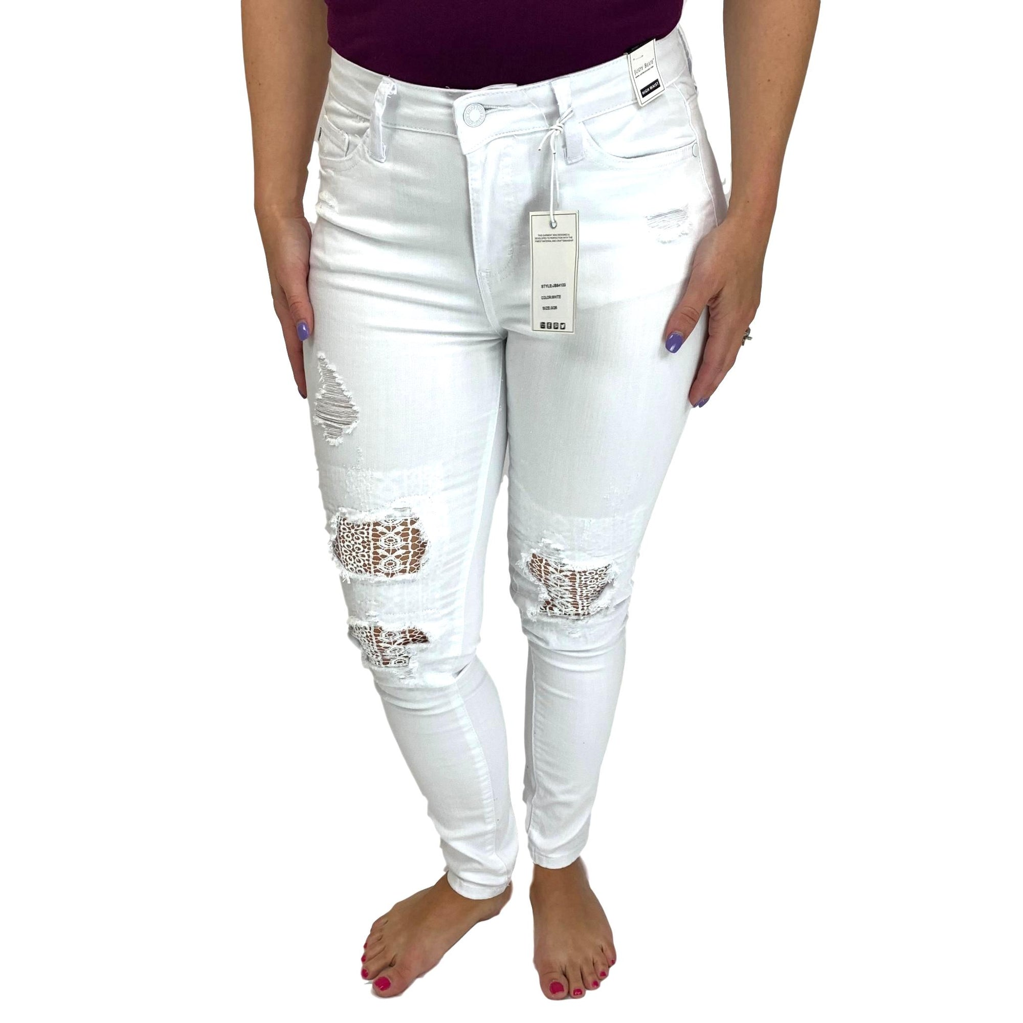 Judy Blue White Lace Patch Jeans