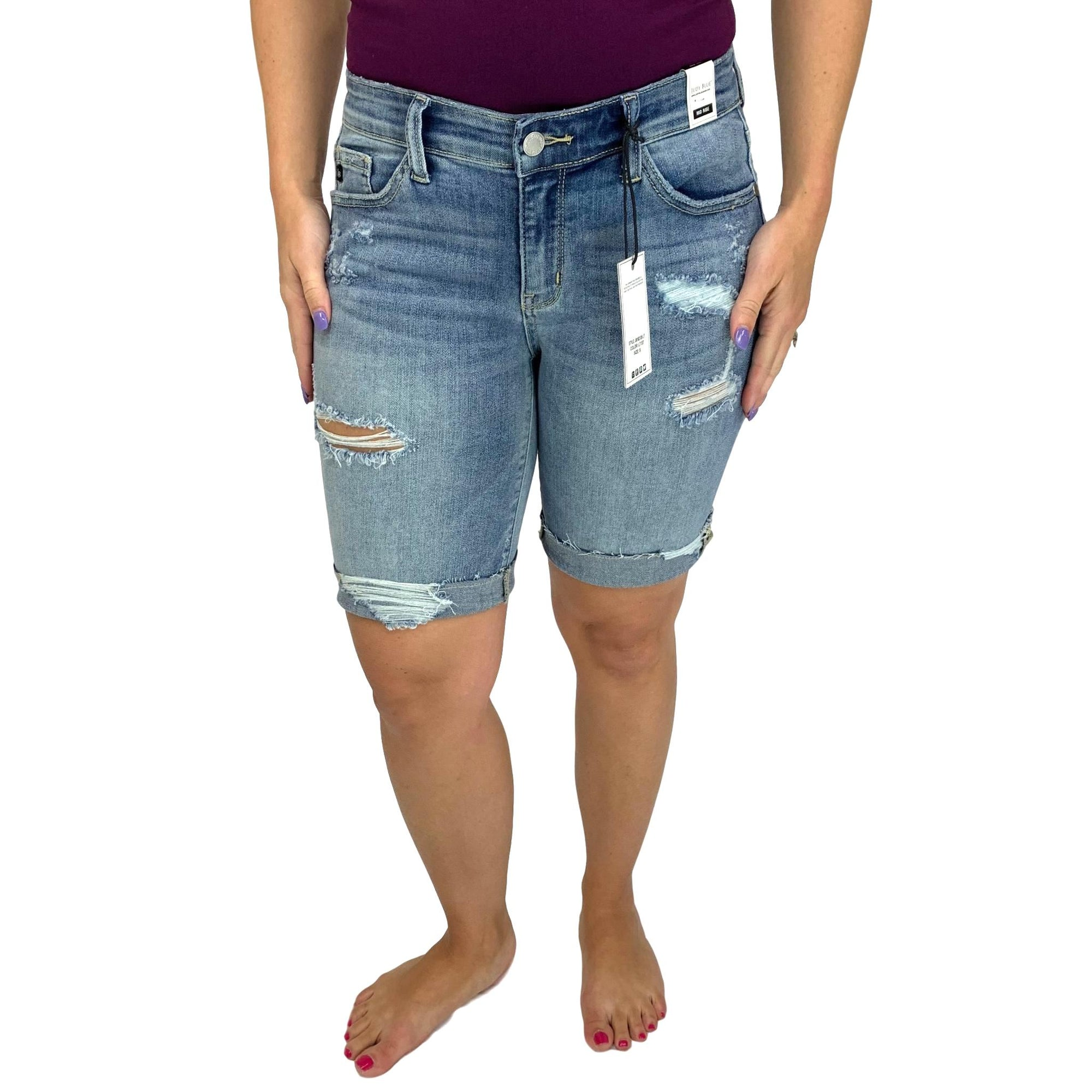 Judy Blue Destroyed Bermuda Jean Shorts